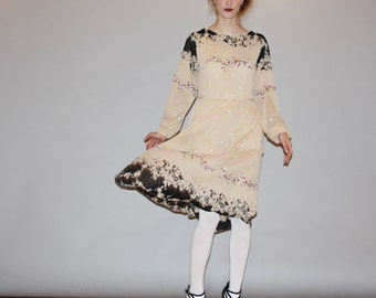 Semi Sheer Vintage 1970s Black Floral Graphic Dress - 70s Boho Dress - 1970s  Floral Dress - W00087