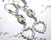 Crystal Heart Earrings in Crystal Clear  - Rhinestones Hearts - Swarovski Crystal and Sterling Silver - Silver Leverbacks