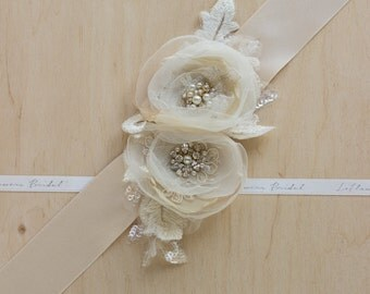 Bridal sash, Gold bridal sash, Wedding belts sashes, Champagne weddings, Floral accessories, Lace wedding, vintage wedding