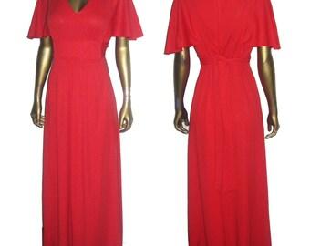 Vintage Red Fan Butterfly Flutter Sleve Empire Tie Waist Mod Grecian Disco Long Maxi Gathered Dress