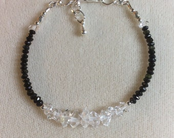 Herkimer diamond bracelet, clear, sparkley, double terminated and black Tourmaline bracelet