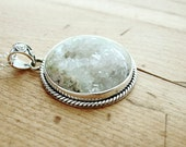 Druzy Crystal Quartz Necklace Statement Stone Sterling Silver