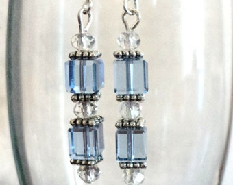 Dangle Earrings, Blue Earrings, Glass and Crystal, Earrings, Modern Earrings, Winter Earrings - NORTH POLE