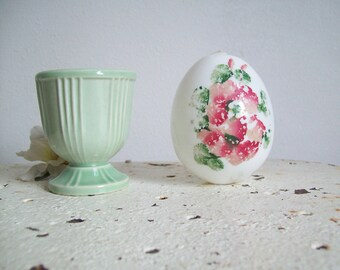 Antique blown glass egg Victorian hand painted milk glass blown egg