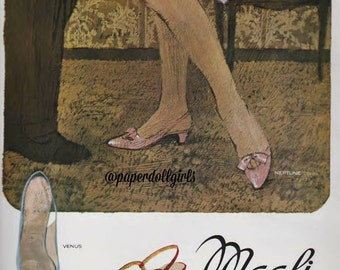 French Vogue Magazine Advertisement April 1965 Bruno Magli Leather Italian Shoes High Heels Couture High Fashion Illustration