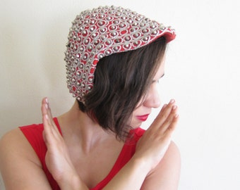 Vintage 1950s Red Cap Hat with Silver Stud Beading / 50s OOAK Red Space Age Hat Mr Milton Marshall Field