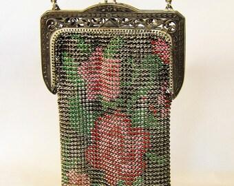 Vintage 1910s 1920s Silver Mesh and Enamel Handbag / Whiting & Davis Art Deco Wrist Purse with Floral Motif