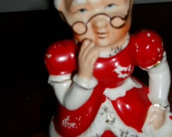50s Japan Ceramics MRS. CLAUS Old Christmas Decor Figure Santa's Wife