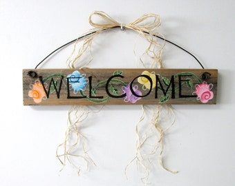 Colorful Flower Welcome Sign, Hand Painted on Reclaimed Barn Wood, Welcome Sign, Peach, Purple, Blue, Yellow,& Pink Flowers, Barn Wood Sign