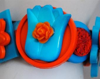 Flower Button Bracelet/Charm Bracelet/OOAK/Statement Ring/Gift For Her/Orange/Turquoise/Under 35 USD/Expandable
