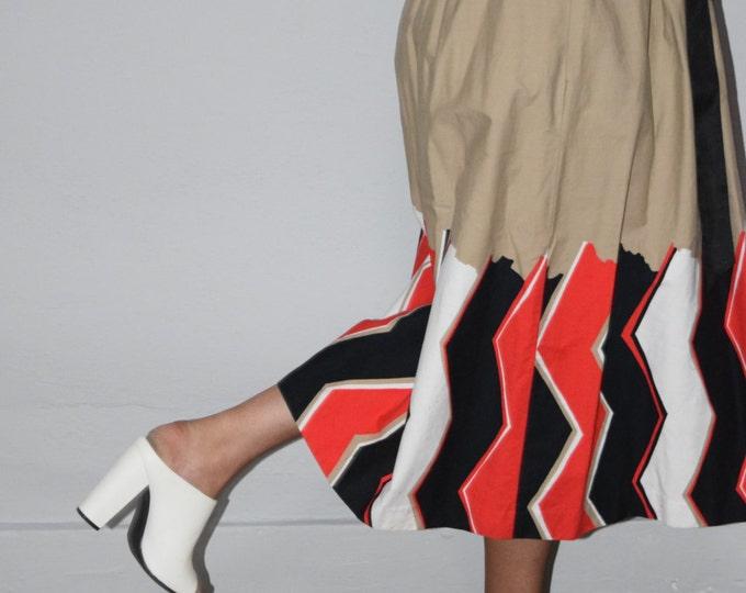 high waist cotton 80s vintage elastic waist womens a line zig zag chevron stripe striped stripes kitsch cottage chic extra large XL skirt