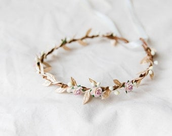 dusty pink & gold flower hair wreath // bridal wedding flower crown headband rustic forest garden spring headpiece // rustic wedding crown