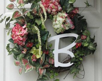 Summer Wreath – Hydrangea Monogram Wreath – Monogram Wreath – Front Door Wreath – Outdoor Door Wreath – Hydrangea Wreath