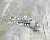 Green drop earrings, Minimal earrings, Moss agate earrings, Agate earrings, Dangle earrings, Artisan earrings, Botanical jewelry