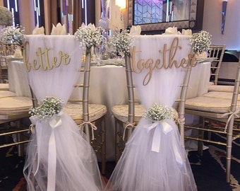 Wedding Chair Signs For Bride Groom Better Together