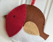 Red Robin Bird Wool Felt Handstitched Ornament