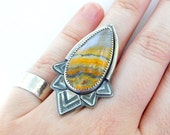 Bumble Bee Japer Ring - Custom sized - Tribal flair ring - boho statement ring - Sterling Silver Cocktail ring - Large stone ring