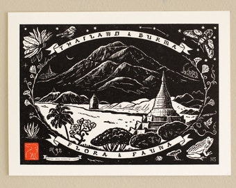 Title Page: Thailand Burma Flora Fauna - Handmade Letterpress Print
