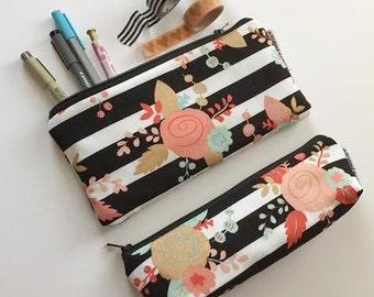 pencil pouch -- striped floral