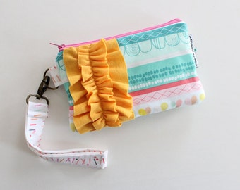 ruffle power wristlet clutch -- striped color crush hearts