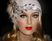 DAZZLING DAISY - Old Hollywood 20's Gatsby Hat, Juliet Flapper Cap, White 20s Turban, White Gatsby Bridal Hat, 20s Cap With Rhinestone Bling