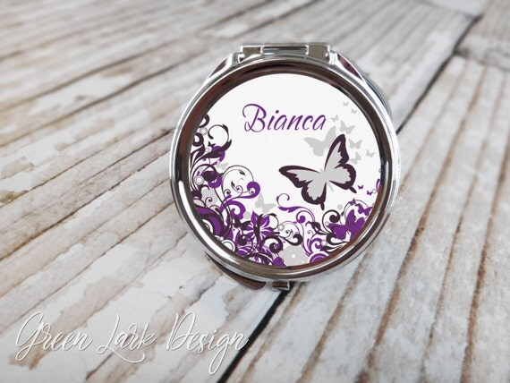 Bridesmaids Gifts - Personalized Compact Mirror - Butterflies in Purple
