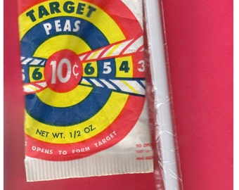 1960's Wonder Target Peas - Chemtoy - Pea Shooter - Unopened Package with Sealed Pea Shooter Straw