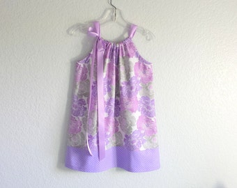 New! Girls Lavender Pillowcase Dress - Purple & Grey Floral with Polkadots - Girls Purple Sundress - Size 12m, 18m, 2T, 3T, 4, 5, 6, 8 or 10