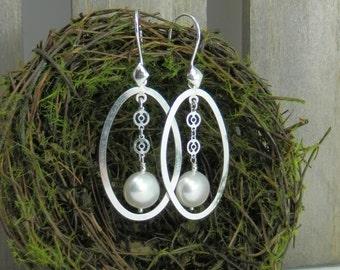 Elegant White Framed Freshwater Pearl Sterling Earrings