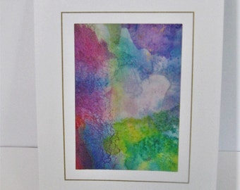 Hand painted silk card mauve blue green abstract design