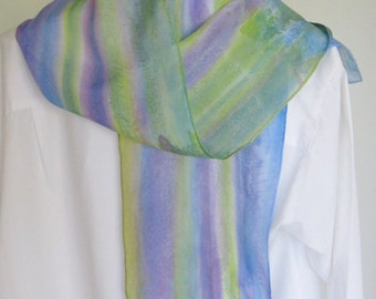 Silk scarf hand painted purple lime green blue shades striped 8x 54 Canadian design