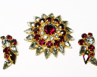 Red & Smoke Black Rhinestone Brooch and Earrings Demi Set - Vintage Made in Austria Rhinestones