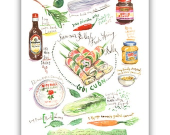 Summer rolls, Vietnamese recipe print, Goi Cuon, Fresh Spring roll, Vietnamese food print, Kitchen wall art, Watercolor painting, Vietnam