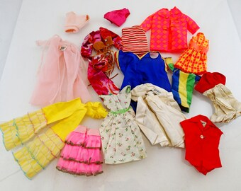 Lot of 16 confirmed Barbie Clothes Satin N Rose Jumpin Jeans Silken Flame White Magic Mod Art Vintage Mod Doll Mattel Clothes Accessories