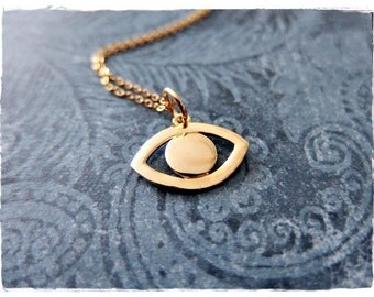 Gold Evil Eye Necklace - Gold Plate Evil Eye Charm on a Delicate 14kt Gold Filled Cable Chain or Charm Only