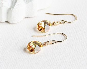 Gold Drop Earrings, Yellow Crystal Earrings, 14K Gold Filled Hooks, Small Dangles, Teardrop Earrings, Dainty Jewelry, Swarovski Elements