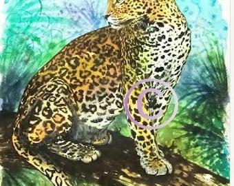 "Large  Art Original Watercolor "" Leopard ""Made in  Italy Animal Woodland   Italian Landscape & Scenic"
