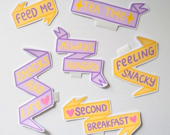 Hungry Vibes 6 Sticker Pack Yellow Purple Lilac