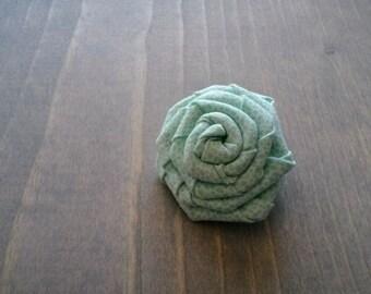 Aqua Rosette Hair Clip, Light Blue Seafoam Hair Flower, Twisted Rose Floral Accessory