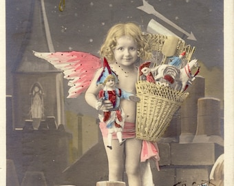 Angel with a Basket Full Of CHRISTMAS TOYS FAIRY French Photo Postcard 1906