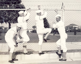 Navy SAILORS About to Go AWOL Over The FENCE In Fun Photo Circa 1940