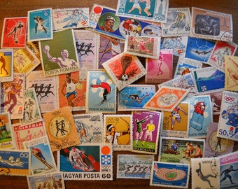50 Used Vintage SPORTS Olympics Postage Stamps for crafting collage altered art journals scrapbooks philately commemorative stamps 15b