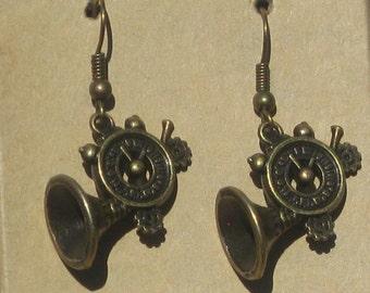 Steampunk Clock Horn Earrings in Antiqued Brass