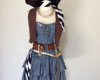 Women's Pirate Costume - Gold Rush Outlaw Pirate Complete Halloween Costume - Denim Blue Jean Corset Style Mini Dress - Small