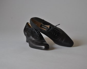 Vintage Boots 80s Bally Ankle Boots Black Leather Lace Up Ankle Booties Designer Shoe
