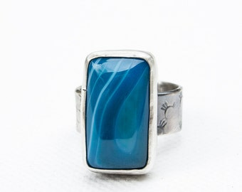 Blue Agate Ring in Sterling Silver, Size 9