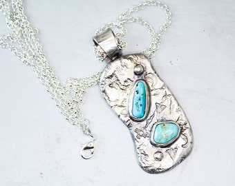 Turquoise Primitive Pendant in Sterling Silver Artisan Handcrafted