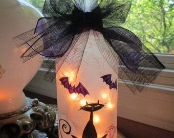 Halloween  Lamp, black cat halloween, halloween lights, halloween decor, wine bottle light, wine bottle lamp, bottle lights, lighted bottles