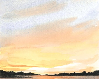 Sunset at Cowan Lake Watercolor Art Print