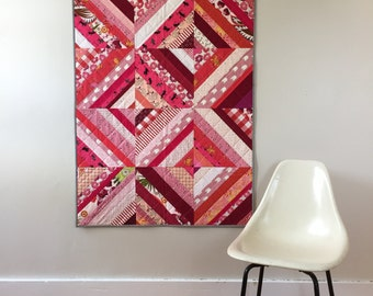 SALE | Modern Baby Quilt | Red and Pink Strip Quilt | Scrap Quilt | Small Quilt | Wedding Gift | Baby Shower Gift